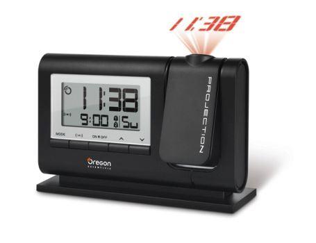 Radio projectiewekker met 2x alarm - zwart