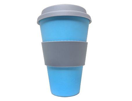 Bamboe Koffie beker met deksel - Blauw