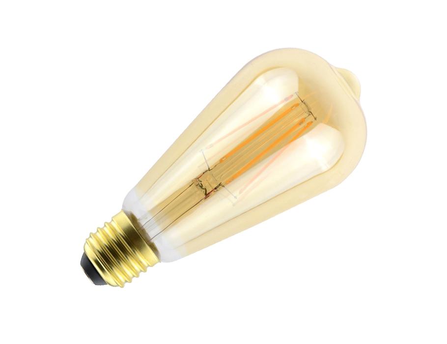 Ledlamp - RETRO - E27 - 560 lm - ST64 Rustique - helder goud