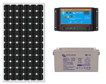 Zonnepaneel pakket met accu 130wp - 12V