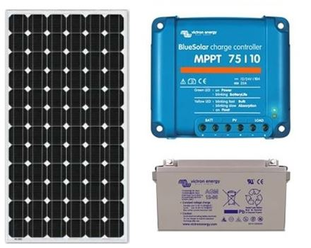 Zonnepaneel pakket met accu 130wp - 12V en MPPT regelaar