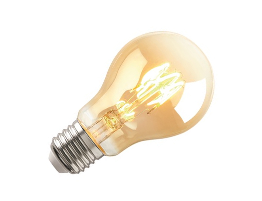 Ledlamp - RETRO - E27 - 125 lm - bol - helder goud