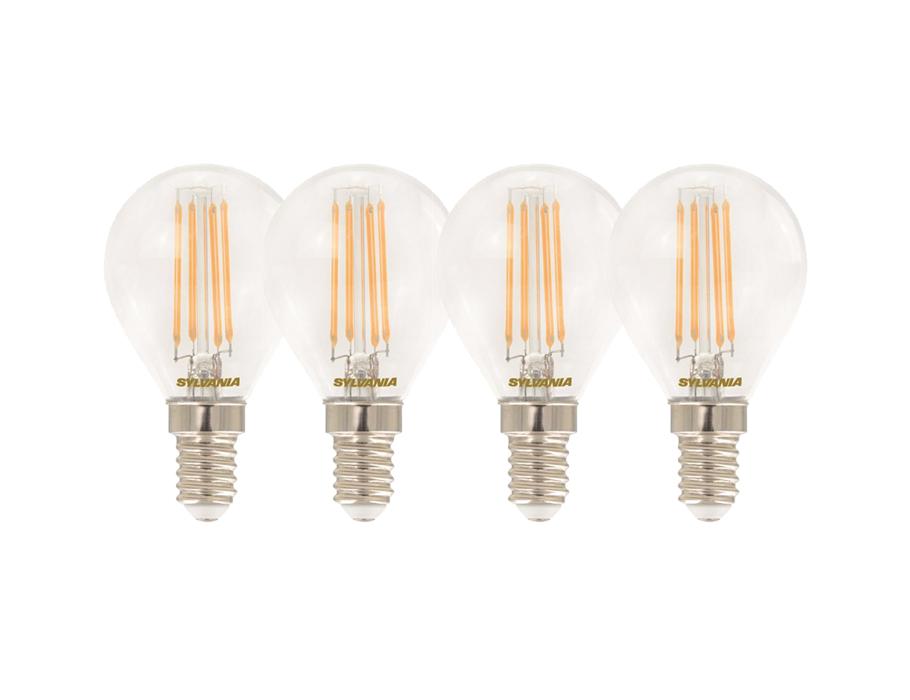 Ledlamp - E14 - 470 lm - kogel - helder - 4 stuks