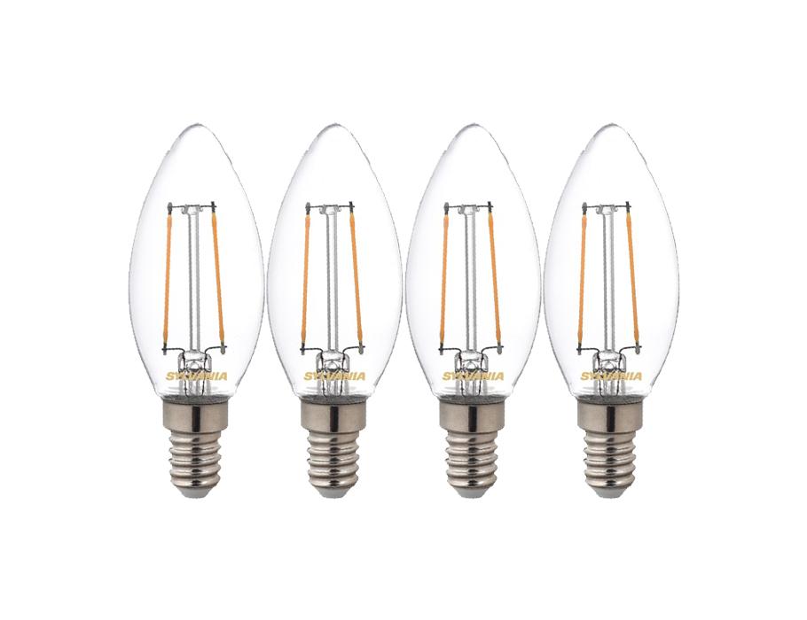 Ledlamp - E14 - 250 lm - kaars - Helder - 4 stuks