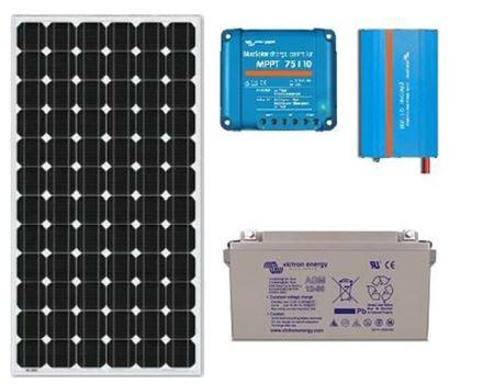 Zonnepaneel pakket met accu 130wp - 230V en MPPT