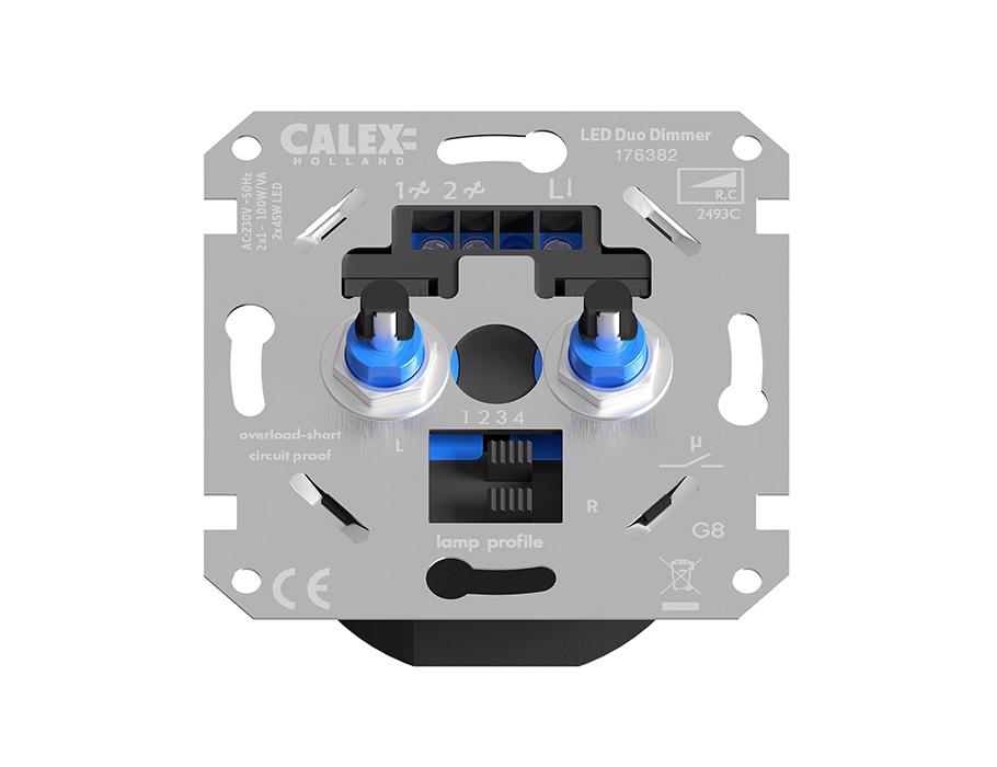 Duo inbouwdimmer voor Ledlampen - 2 x 45W - 230V