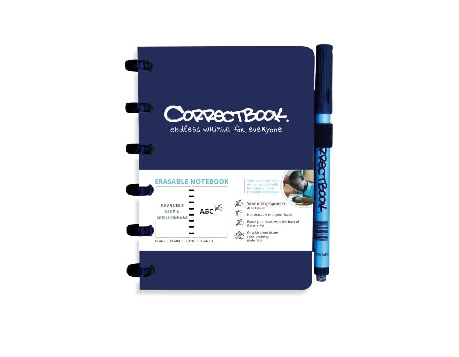 Correctbook A6 blauw- blanco