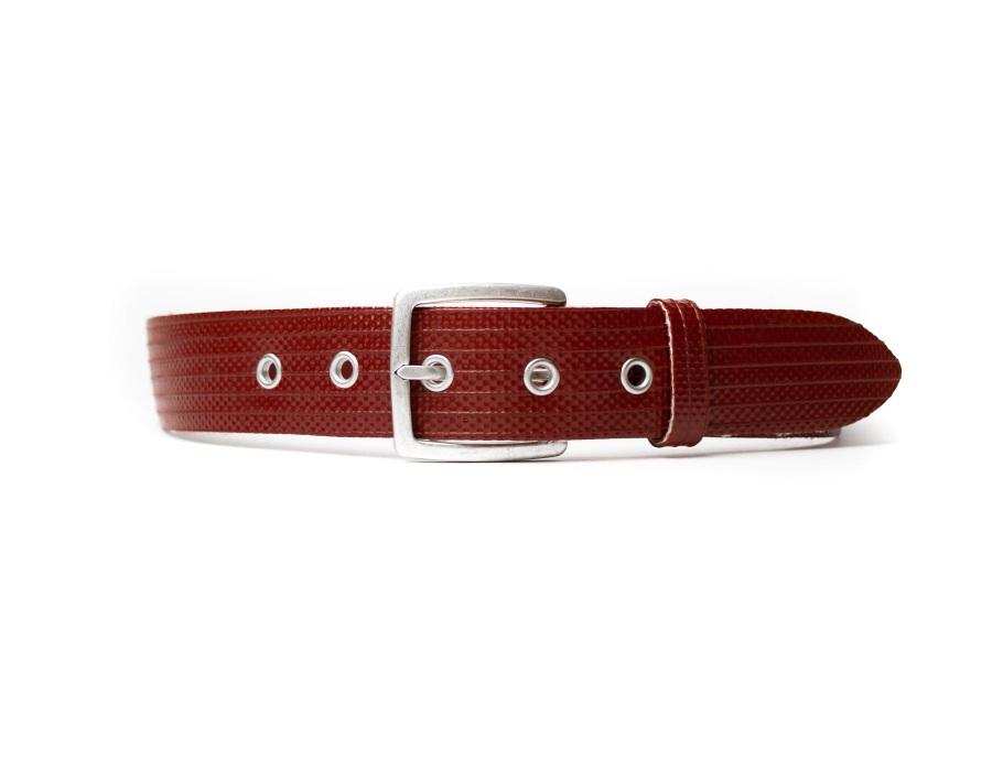 #110 Brandweerslang riem - rood/zilver - 4x85 cm