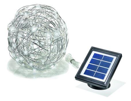Aluminium wireball met leds - op zonne-energie