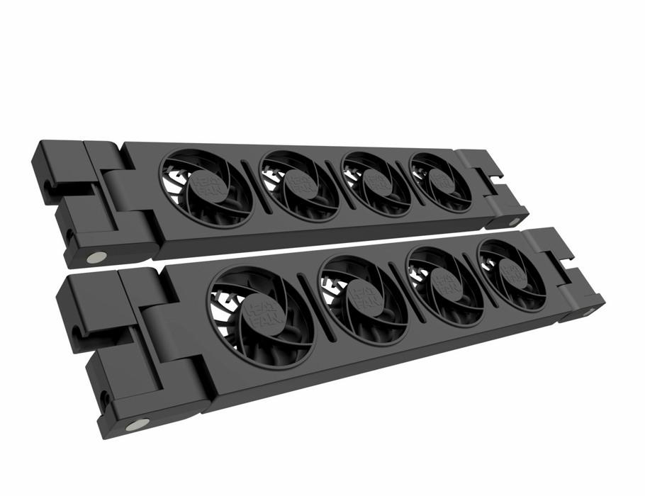 Duo Heatfan - Zwart - 4 ventilatoren - incl. Voeding en Verbindingskabel