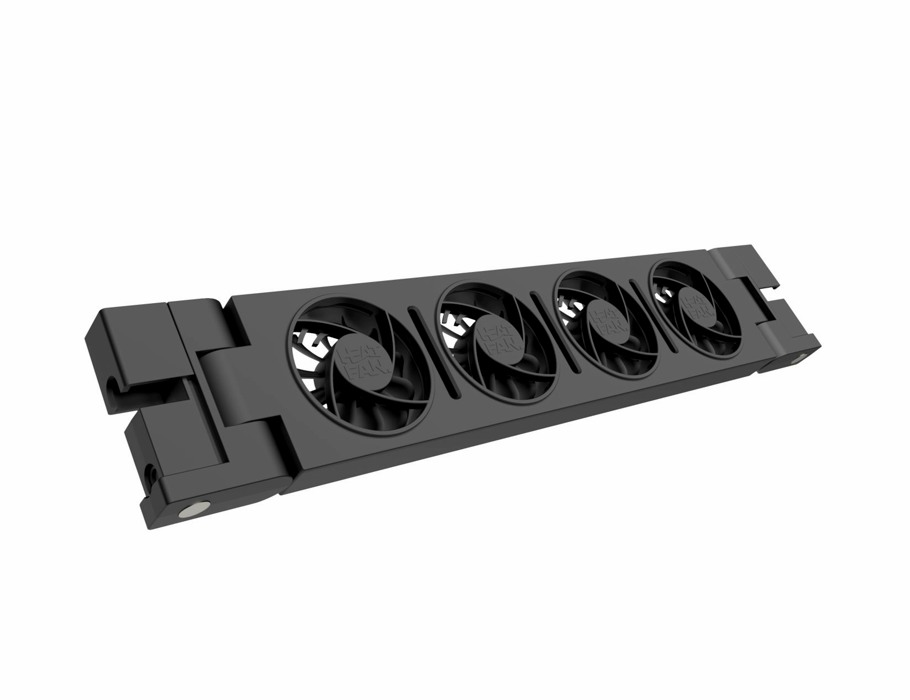 Solo Heatfan - Zwart - 4 ventilatoren - incl. voeding