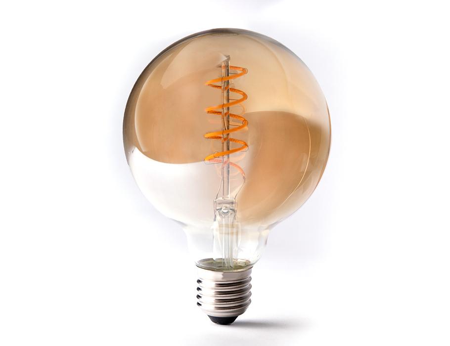 Led-Lampe - E27 - 350 Lumen - Große Kugel - Bernstein - 4W - 2200K
