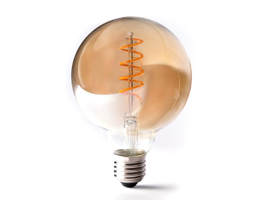 Led-Lampe - E27 - 350 Lumen - Kleine Kugel - G95 - Bernstein - 4W - 2200K