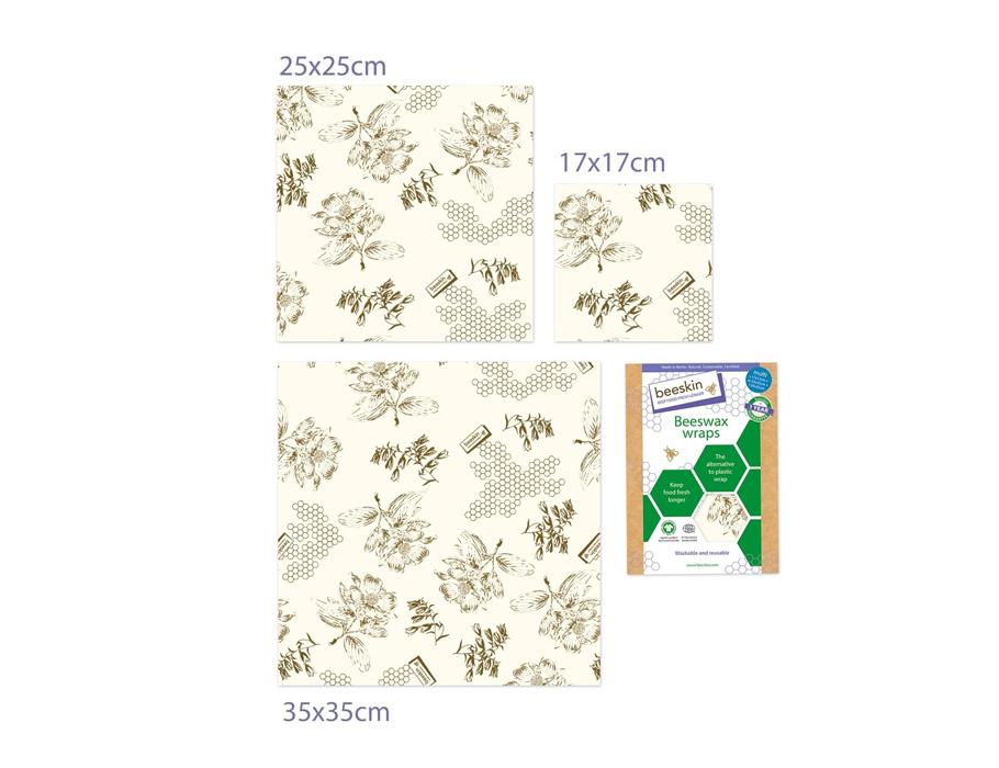 Bijenwasdoeken Set - Small, Medium en Large - Flower print