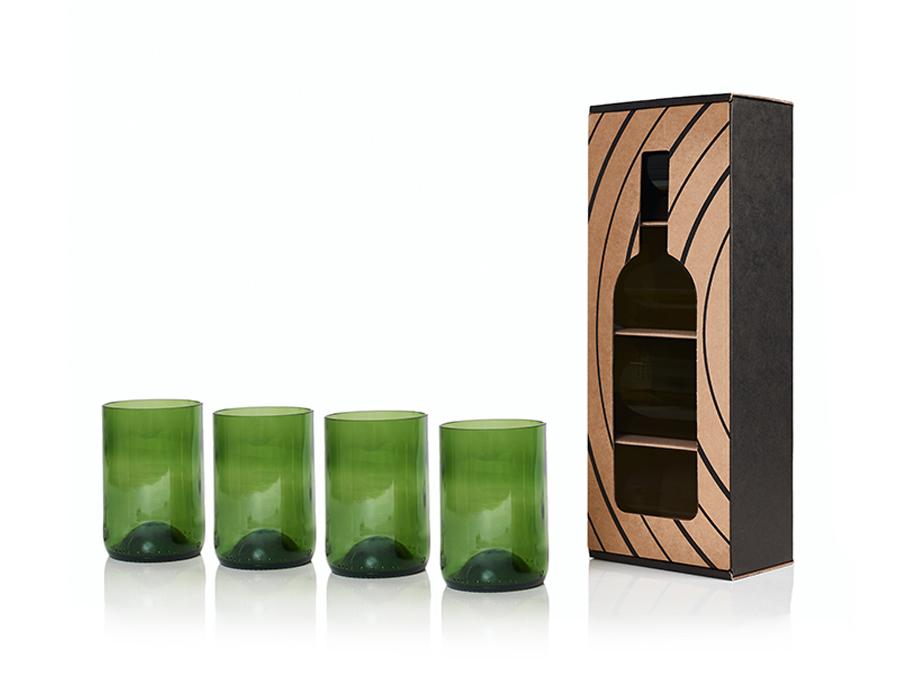 Rebottled Glazen - 4-pack - green