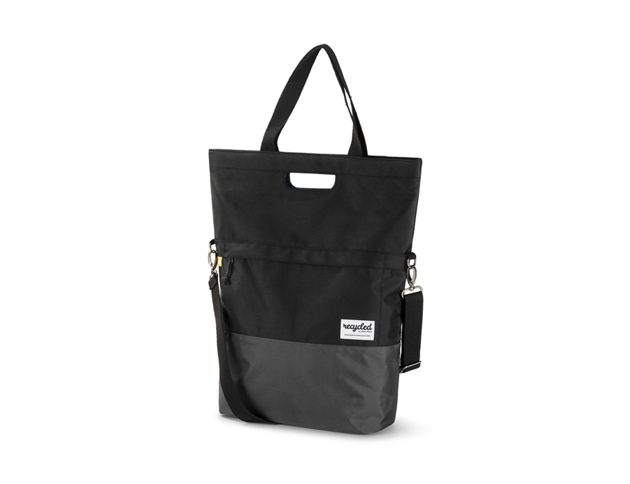 Gerecycled shopper (fiets)tas - black grey