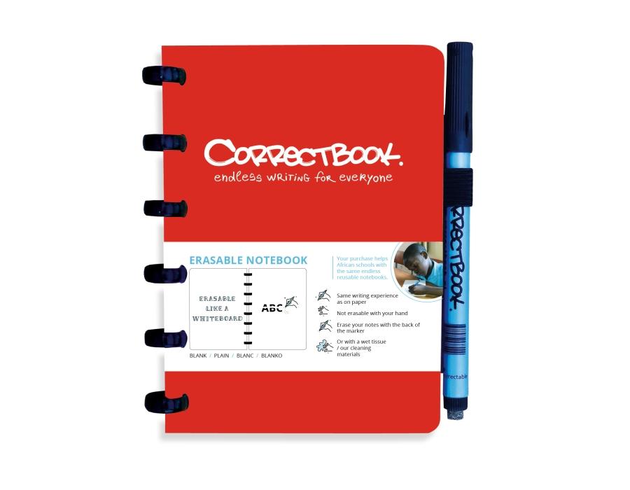 Correctbook A6 rood- blanco