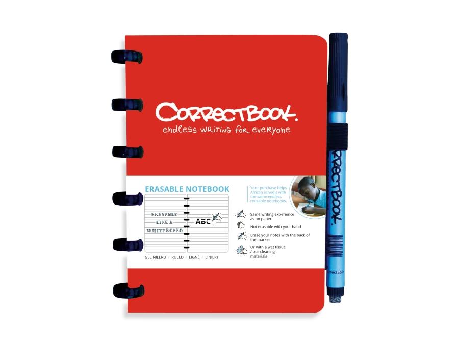 Correctbook A6 rood- lijntjes