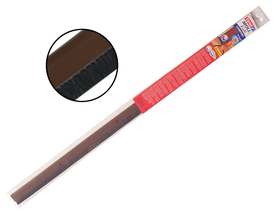 Dorpelstrip (borstel) voor oneffen vloeren - veersysteem - bruin