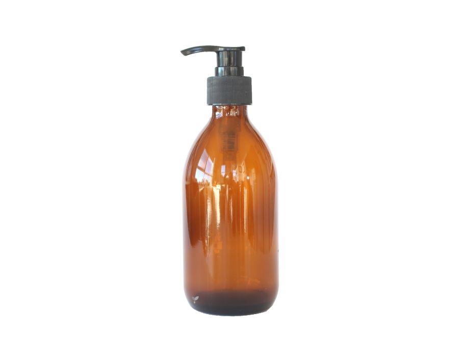 Glazen pompflesje 300 ml amber