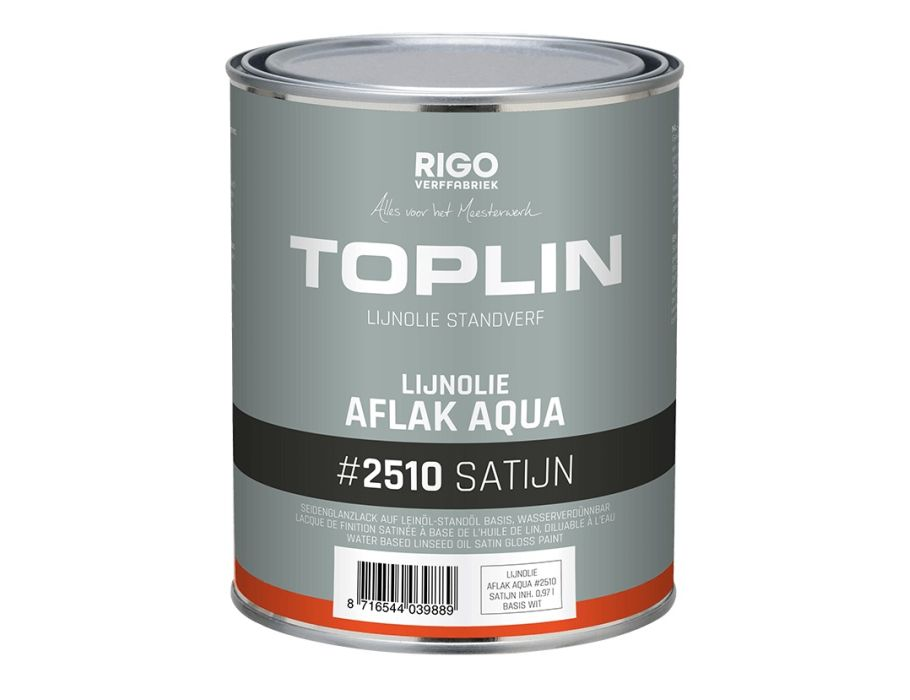Toplin - binnenverf Aqua Satijn - 2,5L - F&B 256 Pitch Black