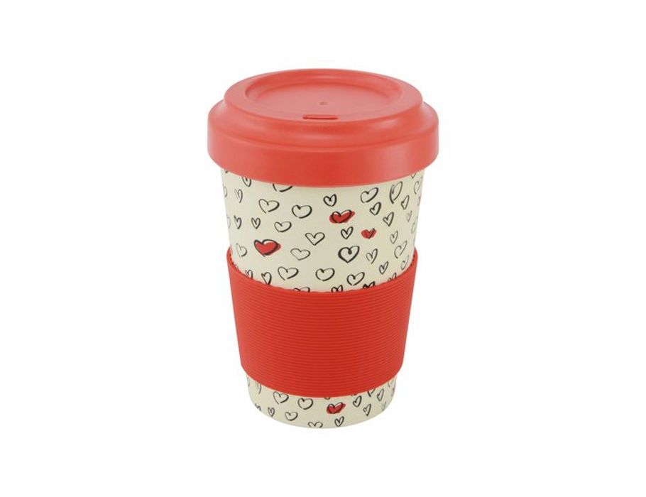 Bamboe Koffie Beker met deksel - rood