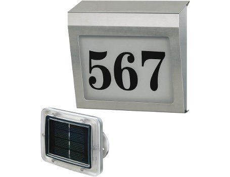 Huisnummerverlichting met extern zonnepaneel