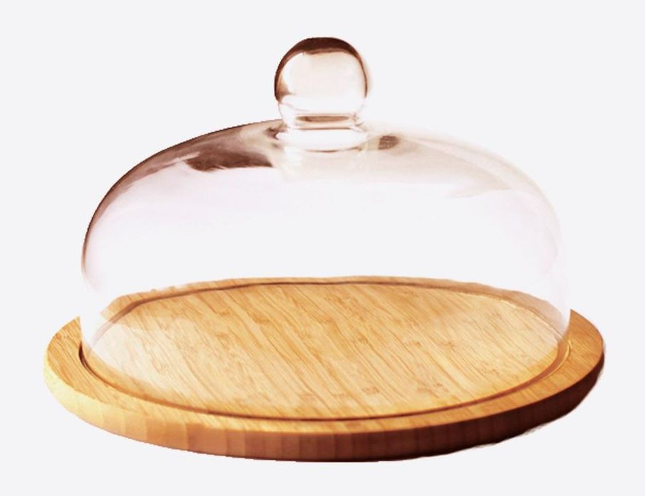 Kaasplank Bamboe met glazen stolp ø 30cm