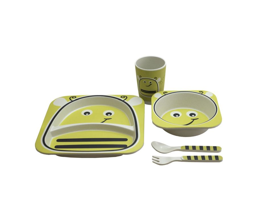 Set with plate, bowl, cup and cutlery Bamboo - Bumblebee