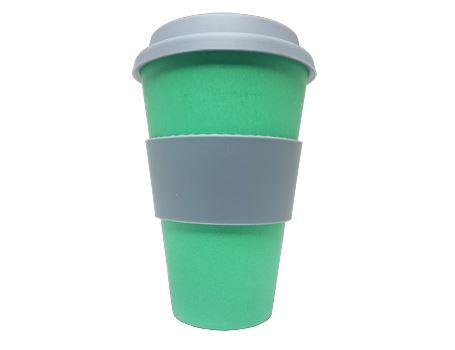 Bamboe Koffie beker met deksel - Groen