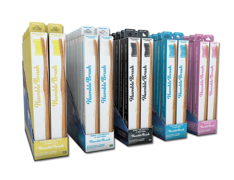 Tandenborstel - bamboe - display kind (20st) - Kleuren mix