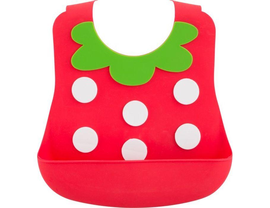 Baby-lätzchen aus silikon - Erdbeere