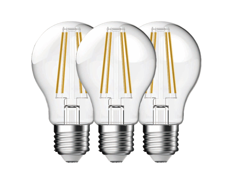 Led-Glühbirne A60 - 3er-Set - E27 - 810 lm - klar - dimmbar