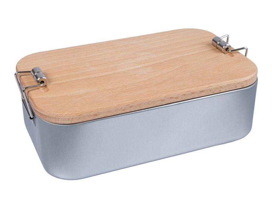 Lunchbox 2 in 1 - met beukenhouten deksel/snijplank