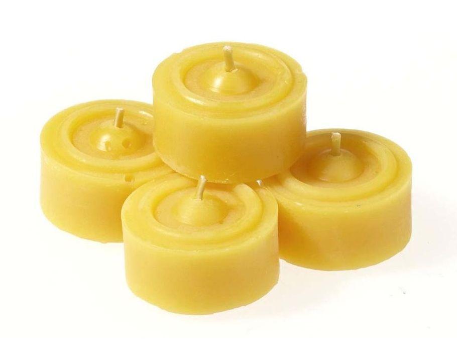 Theelichtjes van bijenwas - 10 stuks