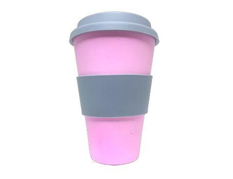 Bamboe Koffie beker met deksel - Roze