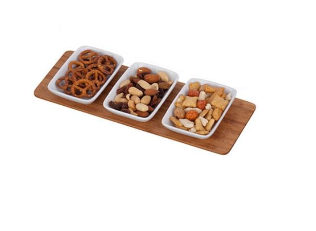 Luxe set snackschaaltjes 3 st. - bamboe