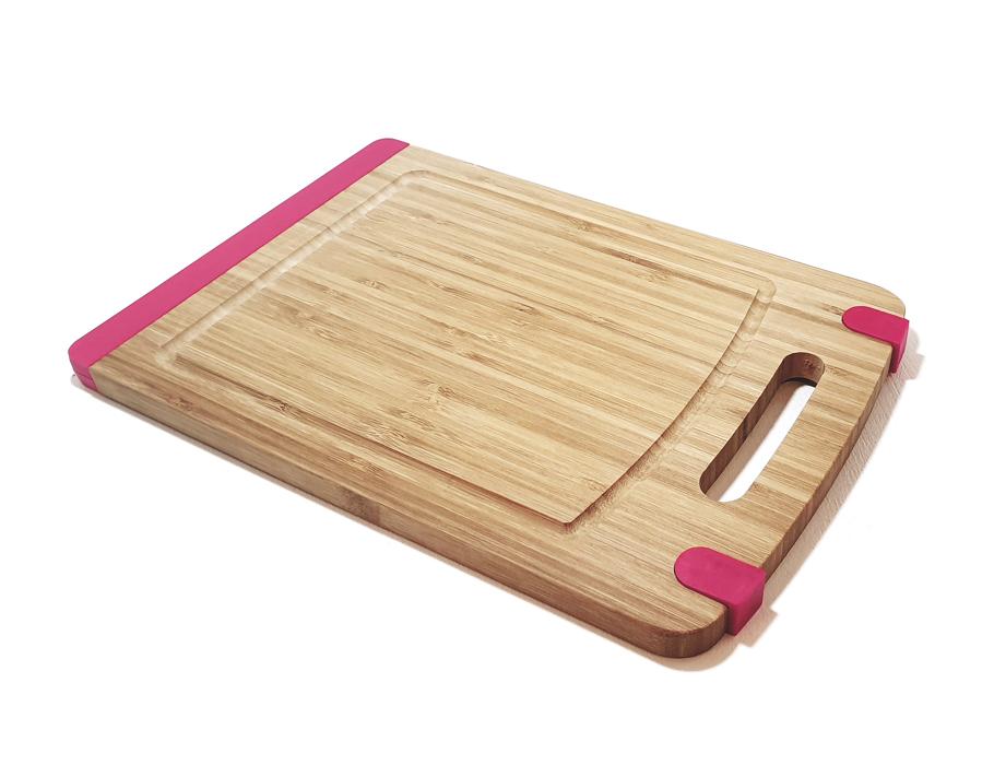 Bamboe snijplank met antislip - Roze