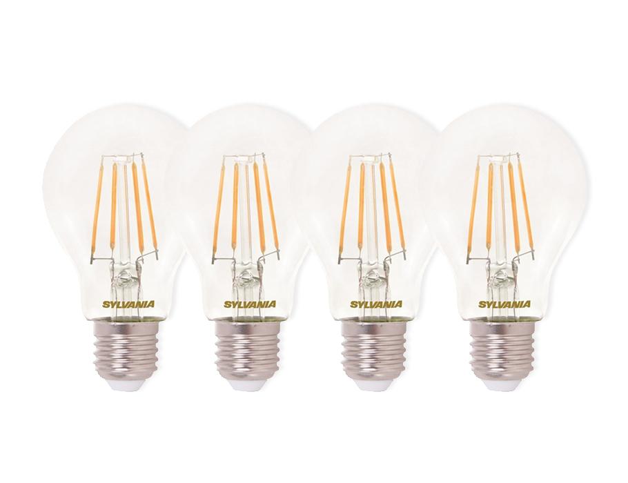 Ledlamp - E27 - 470lm - bol - doorzichtig - 4 stuks