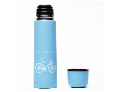 Thermosfles met beker lichtblauwe fiets 500ml