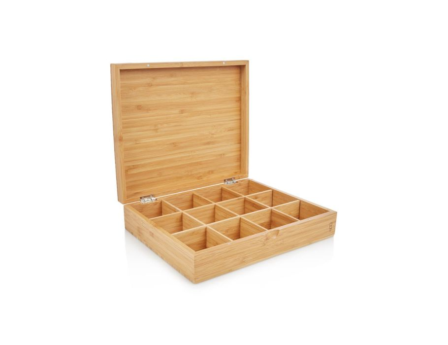 Teebox aus bambus mit 12 fächen