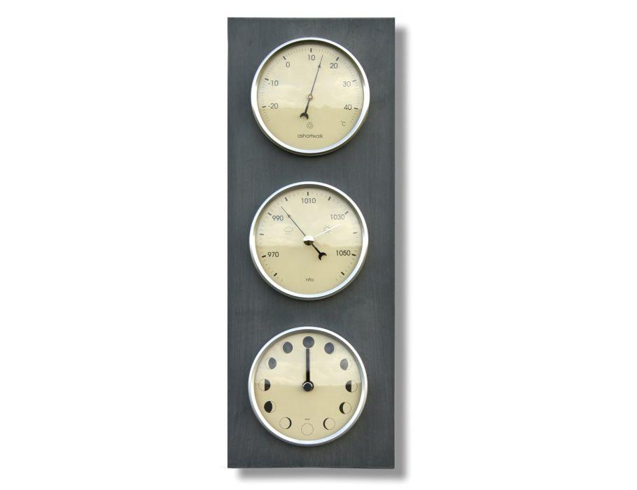 Thermometer, barometer en maanstandenklok