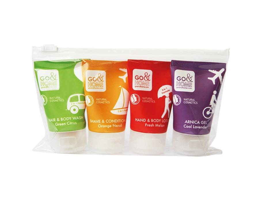 Travelkit 1 met o.a. shampoo, zeep en gel