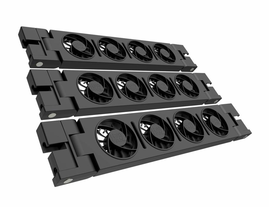 Trio Heatfan - Zwart- 4 ventilatoren - incl. Voeding en Verbingskabel