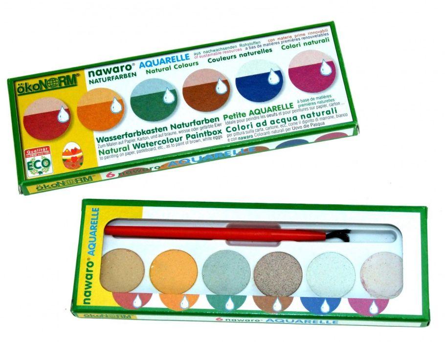 Farbkasten nawaro, Kartonetui mit Farbtabletten Ø23mm - 6 Farben