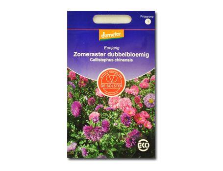 Biologische bloemen Zomeraster dubbelbloemig