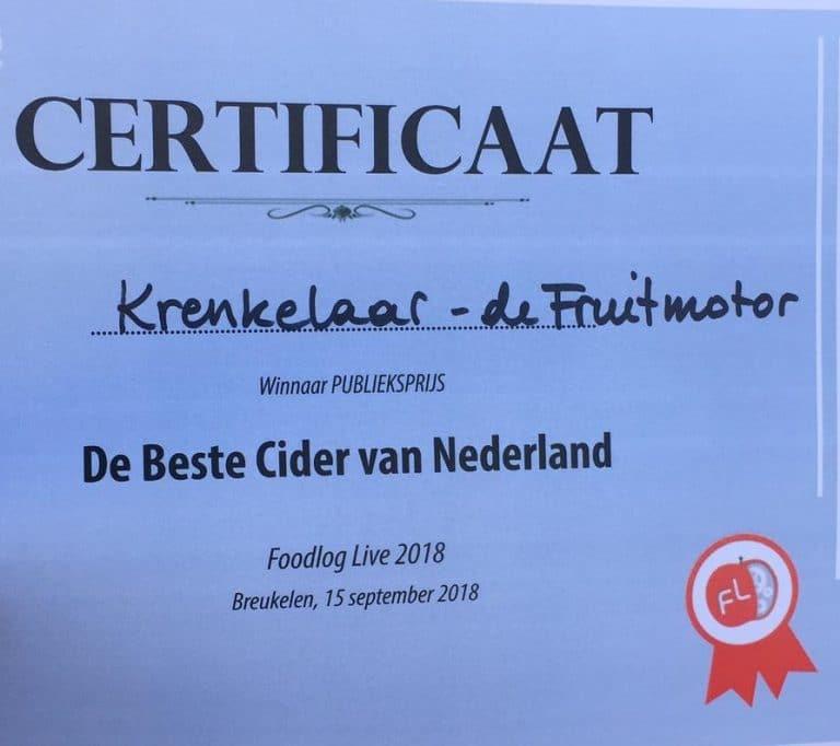 Betuwse Krenkelaar wint publieksprijs beste cider van Nederland